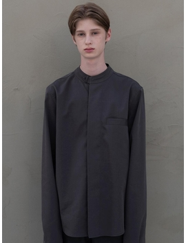 Mandarin Shirt Deep Gray by Moia