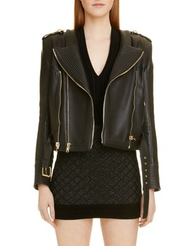 Epaulet Leather Jacket by Balmain