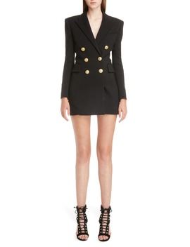 Double Breasted Wool Blend Blazer Dress by Balmain
