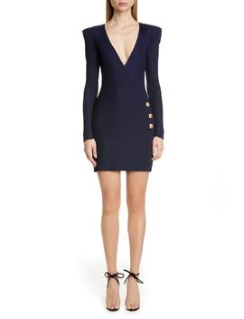 Long Sleeve Ribbed Faux Wrap Dress by Balmain