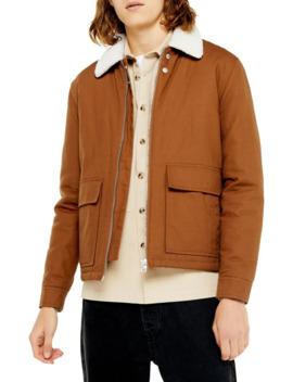 Tan Faux Shearling Collar Coach Jacket by Topman