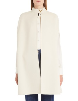 V Detail Double Face Wool & Angora Rabbit Cape by Valentino