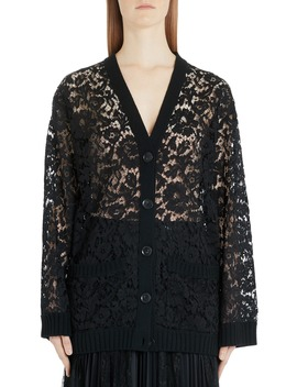 Oversized Wool Lace Cardigan by Valentino