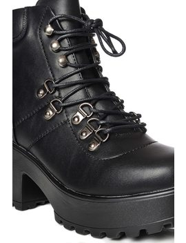 Black Chunky Lace Up Hiking Boot by I Saw It First
