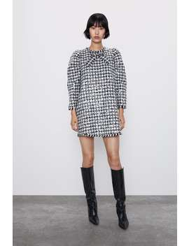 Sequinned Houndstooth Dress by Zara