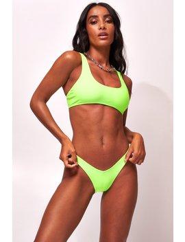 Neon Green Crop Bikini Top by Jaded London