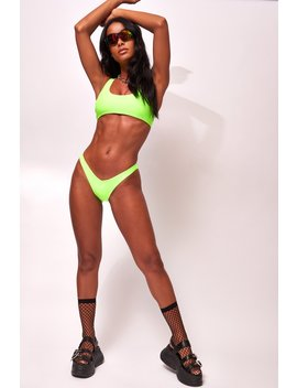 Neon Green V Front Bikini Bottoms by Jaded London