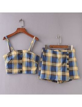 Katyusha   Set: Plaid Camisole Top + Plaid Skort by Katyusha