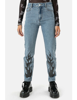 ג'ינס פליימינג הדפס להבות | Mom by Adika