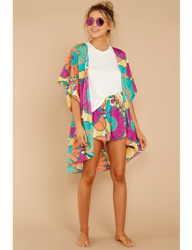 Relaxation Destination Yellow Multi Floral Print Robe by Judith March