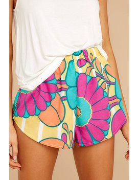 Lively Dialogue Yellow Multi Floral Print Pajama Shorts by Judith March