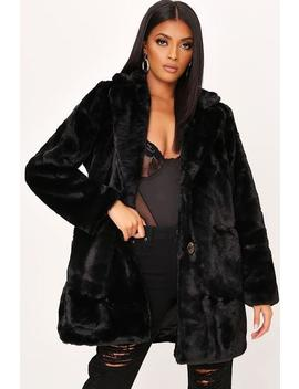 Black Oversized Fur Coat by I Saw It First
