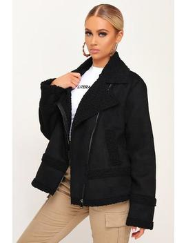 Black Suede Borg Aviator Jacket by I Saw It First