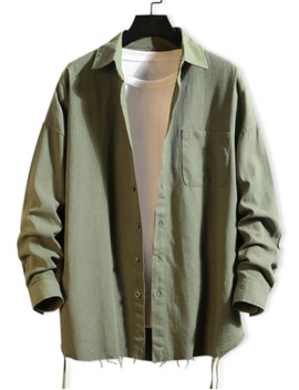 Hot Sale Solid Color Chest Pocket Fringe Trim Drop Shoulder Shirt   Army Green Xl by Zaful