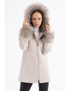 Stone Fur Hood Zip Through Duffle Coat by Select