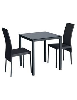 Argos Home Lido Glass Dining Table & 2 Black Chairs706/8344 by Argos