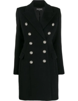 Embossed Buttons Coat by Balmain
