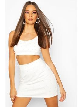 All Over Pearl Embellished Mini Skirt by Boohoo