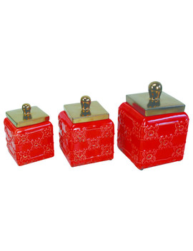 Ceramic Canisters, Red, Set Of 3, Red by Drew Derose Designs