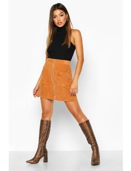 Zip Through Pocket Front Cord Mini Skirt by Boohoo
