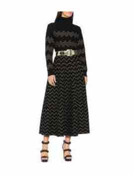 Metallic Jacquard Knit Midi Skirt by Alaïa
