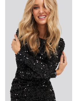 Round Sequin Dress Black by Na Kd Party