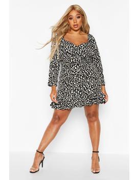 Plus Metallic Leopard Ruffle Hem Skater Dress by Boohoo