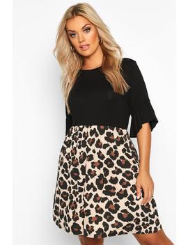 Plus Leopard Contrast Smock Dress by Boohoo