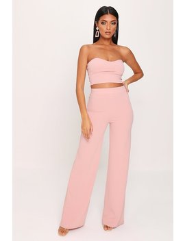 Nude Scuba Crepe Wide Leg Trousers by I Saw It First