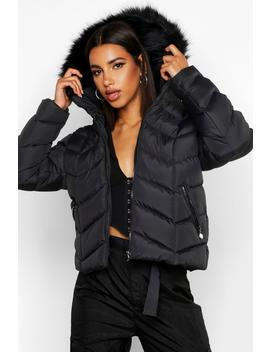Faux Fur Trim Chevron Quilted Jacket by Boohoo
