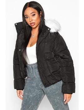 Plus Faux Fur Hooded Puffer Parka Jacket by Boohoo