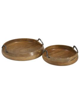 Vallari Round Mango Wood Trays Set Of 2 Iron Accent Home Decor by Imax Worldwide Home