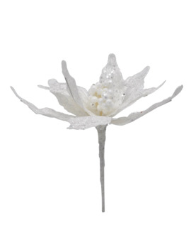 White Glitter Poinsettia Pick By Ashland® by Ashland