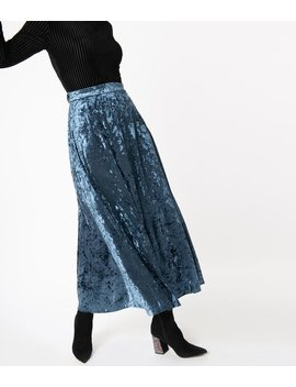 Retro Style Steel Blue Crushed Velvet Maxi Skirt by Unique Vintage
