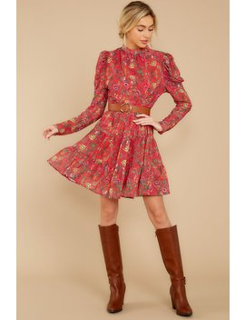 Just Grow With It Red Floral Print Dress by Flying Tomato