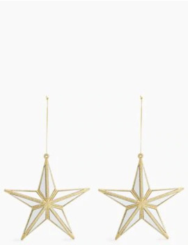 2 Pack Gold Mirror Star Tree Decorations by Marks & Spencer
