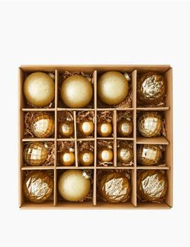 20 Pack Gold Mix Glass Baubles by Marks & Spencer