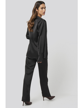 Wide Leg Satin Suit Pants Black by Na Kd Trend