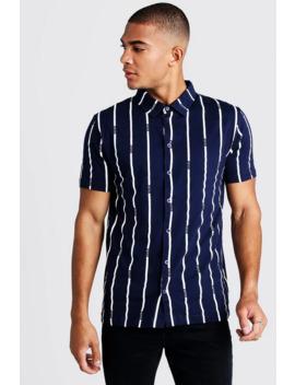 Stripe Man Short Sleeve Shirt by Boohoo