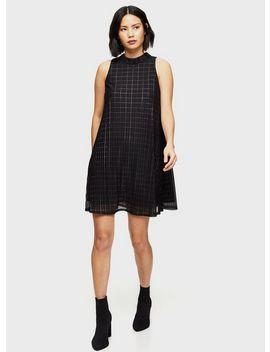 Black Check Lurex Swing Dress by Miss Selfridge