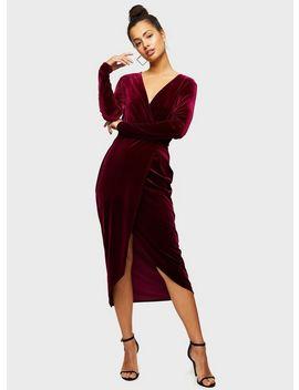 Burgundy Long Sleeve Velvet Wrap Dress by Miss Selfridge