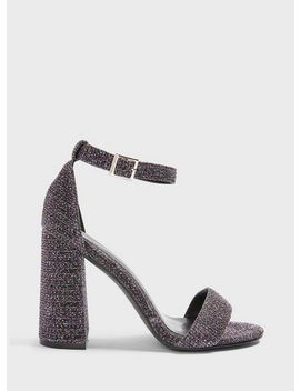 Wide Fit Steph Multi Lurex Block Heel Barely There Sandals by Miss Selfridge