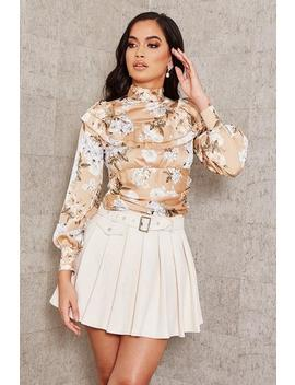 Beige Satin Floral Frill Blouse by I Saw It First