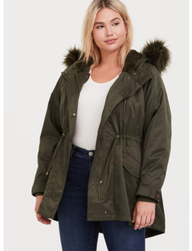 Olive Green Twill Faux Fur Hooded Anorak by Torrid