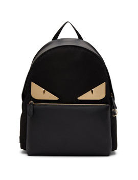 Black Leather Bag Bugs Backpack by Fendi