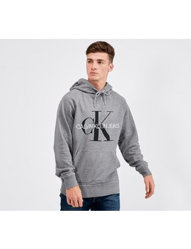 Washed Relaxed Mono Overhead Hooded Top | Medium Grey Heather by Calvin Klein Jeans