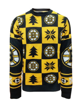 Nhl Boston Bruins Ugly Patchwork Sweater by Klew