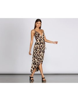 Leopard Print Wrap Front Midi Dress by Windsor