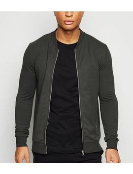 Dark Green Muscle Fit Bomber Jacket by New Look