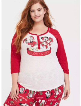 Disney Holiday Mickey Mouse & Donald Duck Red Henley Sleep Top by Torrid
